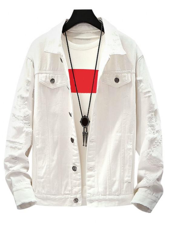 Mock Button Distressed Drop Shoulder Denim Jacket - أبيض XL