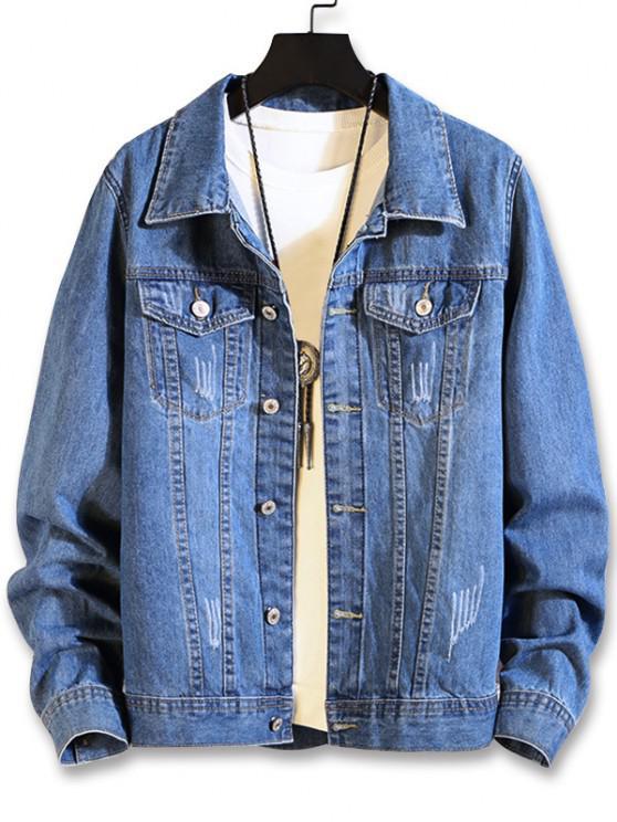 affordable Flap Pocket Scratch Denim Jacket - DENIM BLUE XS