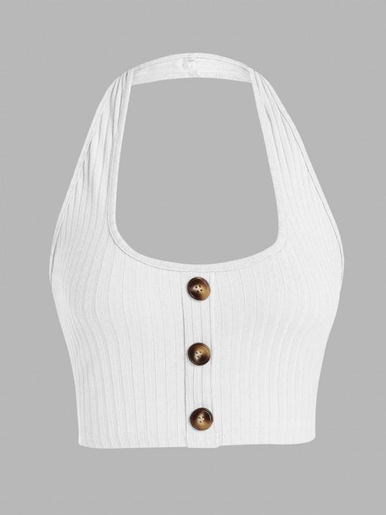 shops ZAFUL Ribbed Mock Button Halter Backless Tank Top - WHITE L