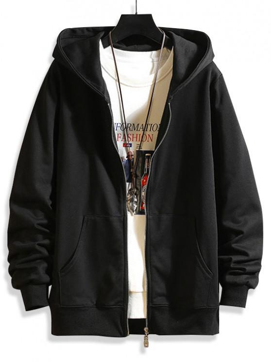 outfits Zip Up Solid Hooded Jacket - BLACK XS