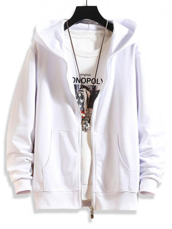 Zip Up Solid Hooded Jacket - أبيض M