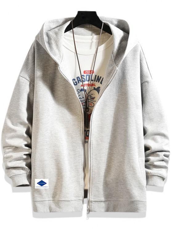 fancy Letters Graphic Print Zip Up Hoodie Jacket - PLATINUM M