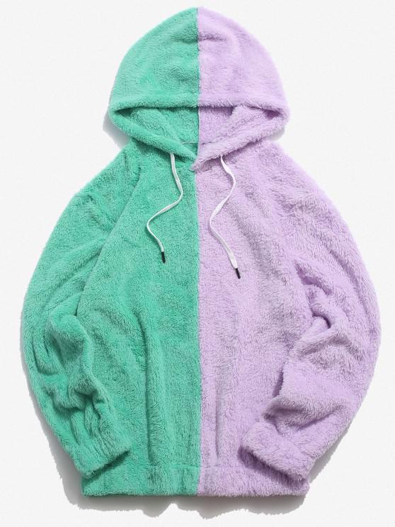 womens Contrast Faux Fur Fluffy Hoodie - LIGHT PURPLE S