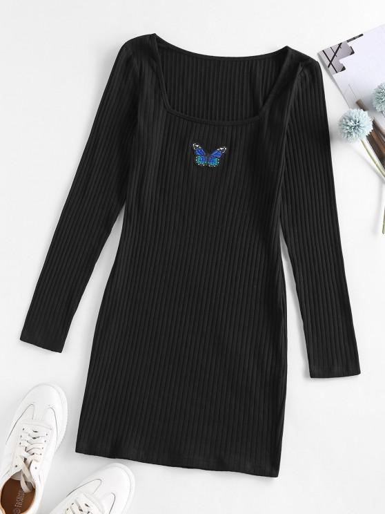 outfit ZAFUL Ribbed Butterfly Applique Bodycon Dress - BLACK XL