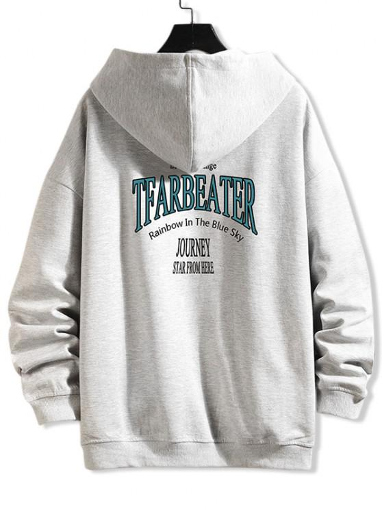 affordable Letter Text Print Zip Up Hoodie Jacket - PLATINUM 4XL