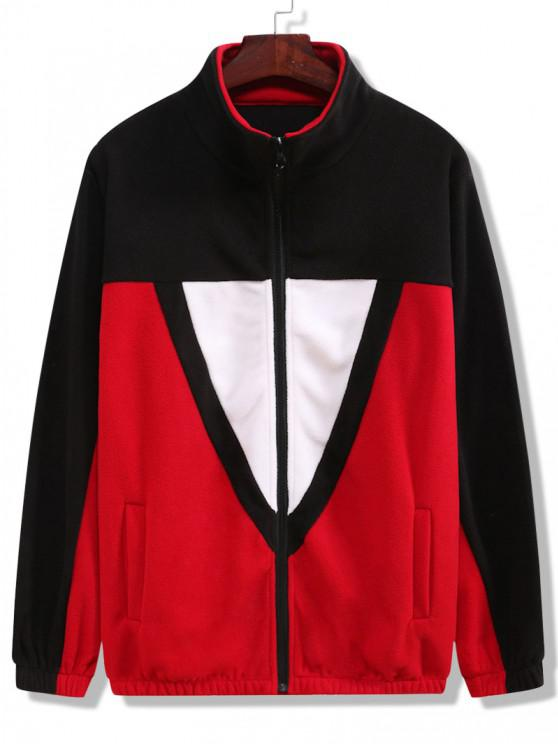 Color Blocking Fleece Jacket - أسود 2XL