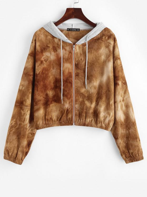 Zip Up Tie Dye Combo Corduroy Jacket - قهوة M