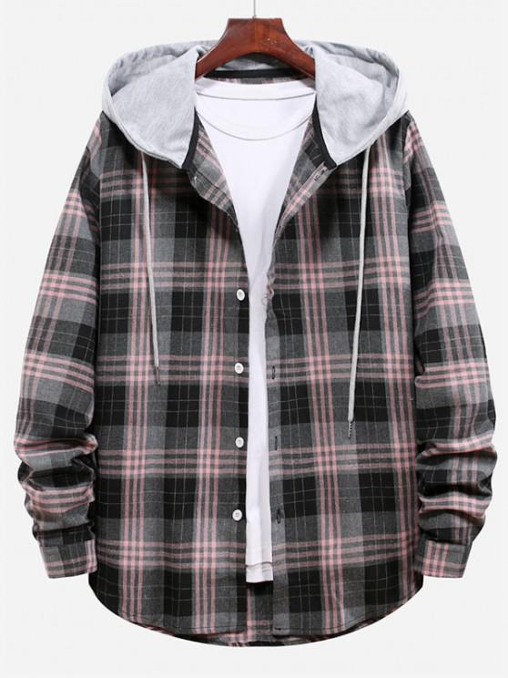 fashion Plaid Pattern Color Blocking Hooded Shirt - SMOKEY GRAY 2XL