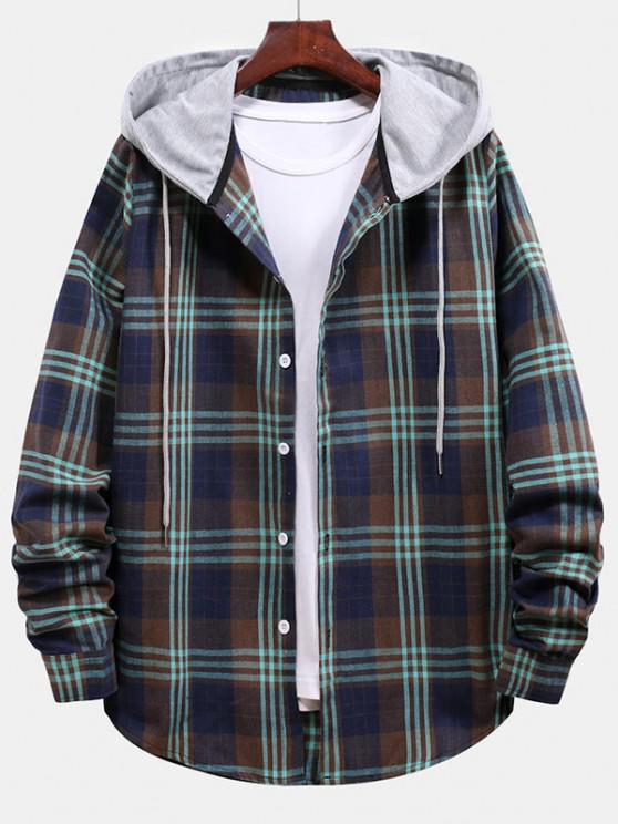 Plaid Pattern Color Blocking Hooded Shirt - طالبا الأزرق S