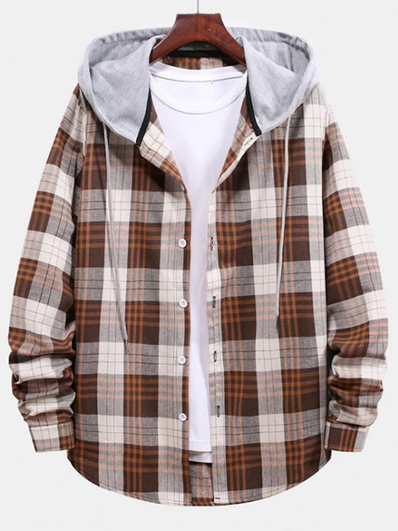unique Plaid Pattern Color Blocking Hooded Shirt - BEIGE L