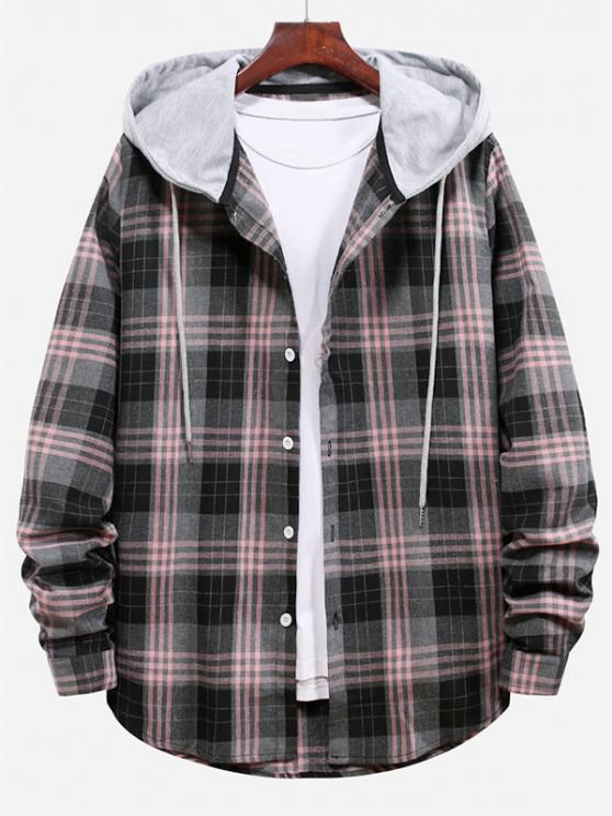 shops Plaid Pattern Color Blocking Hooded Shirt - SMOKEY GRAY M