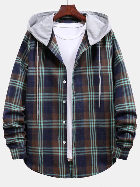 trendy Plaid Pattern Color Blocking Hooded Shirt - CADETBLUE L