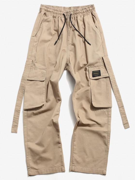 Drawstring Letter Applique Casual Cargo Pants - كاكي XS
