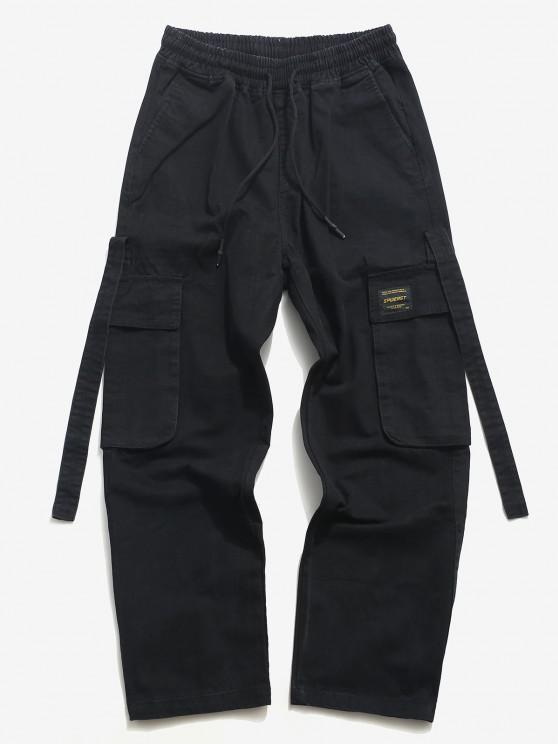 new Drawstring Letter Applique Casual Cargo Pants - BLACK M