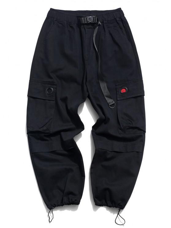 Solid Buckle Flap Pocket Cargo Pants - أسود 2XL
