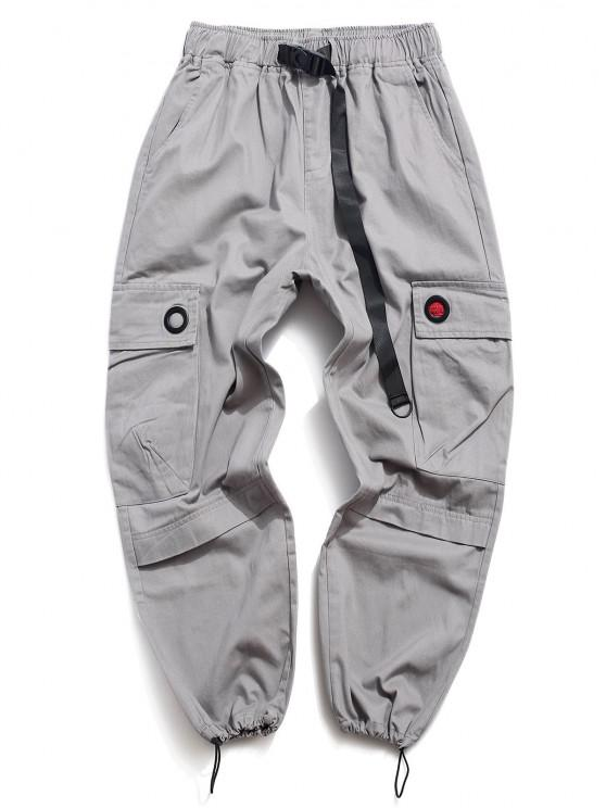 lady Solid Buckle Flap Pocket Cargo Pants - GRAY L