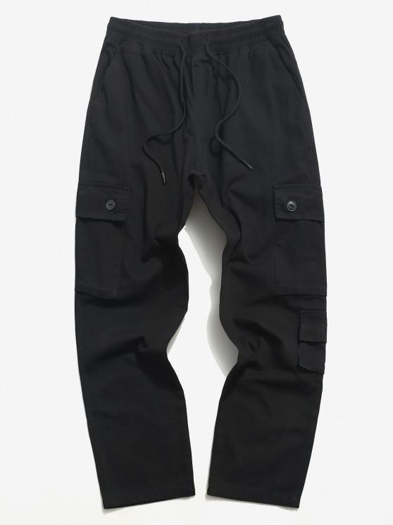 shops Drawstring Letter Applique Multi Pockets Casual Pants - BLACK S