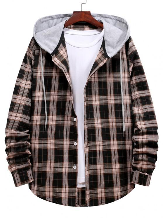 outfits Plaid Print Hooded Drawstring Shirt - BLACK 2XL