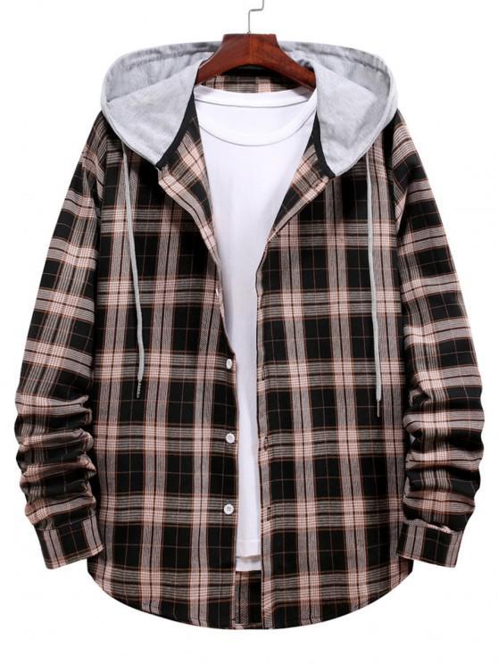 Plaid Print Hooded Drawstring Shirt - أسود L