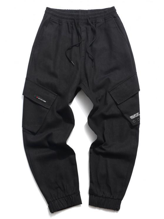 shop Letter Print Applique Drawstring Casual Pants - BLACK L