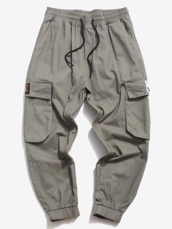 Pantalon Cargo en Couleur Unie avec Poche à Rabat - Gris S