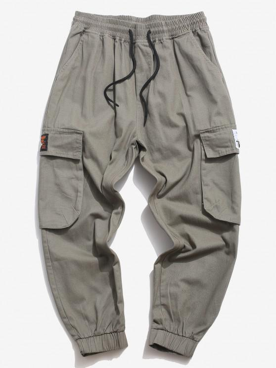 Flap Pocket Applique Solid Cargo Pants - اللون الرمادي XS