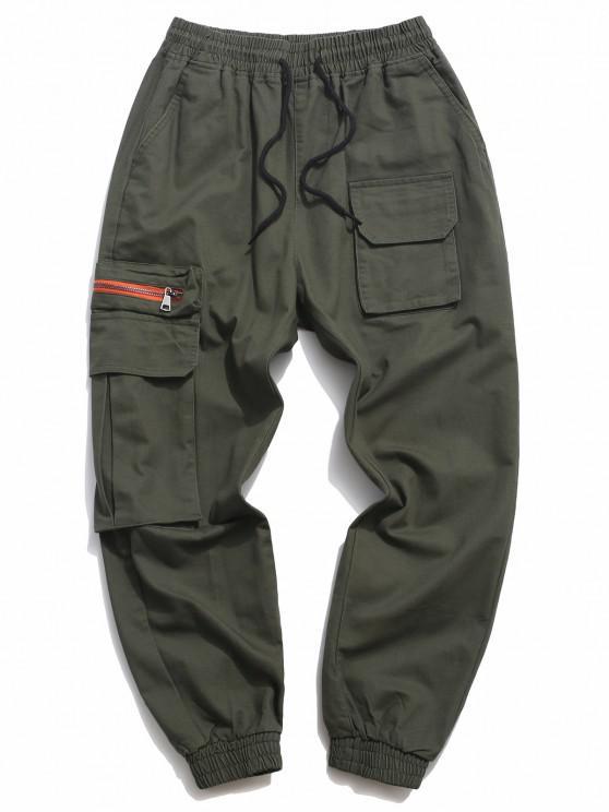 Letter Print Drawstring Multi Pockets Casual Pants - الجيش الأخضر L