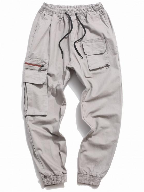 new Letter Print Drawstring Multi Pockets Casual Pants - GRAY M