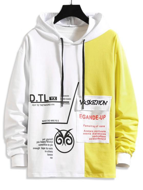 shops Two Tone Letter Pattern Flap Pocket Hoodie - YELLOW XS