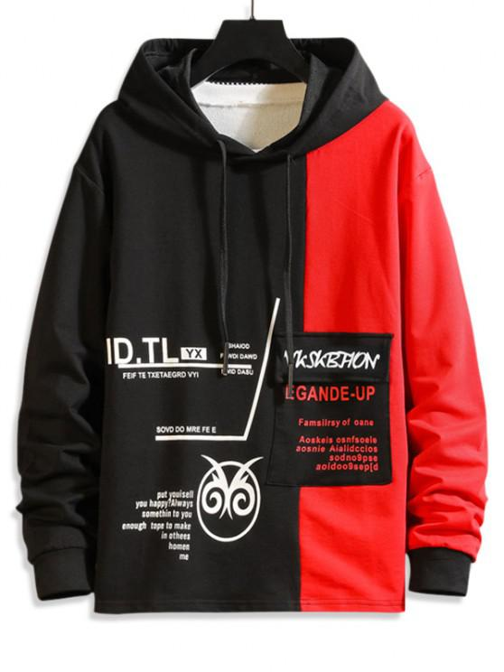 Two Tone Letter Pattern Flap Pocket Hoodie - أحمر XS