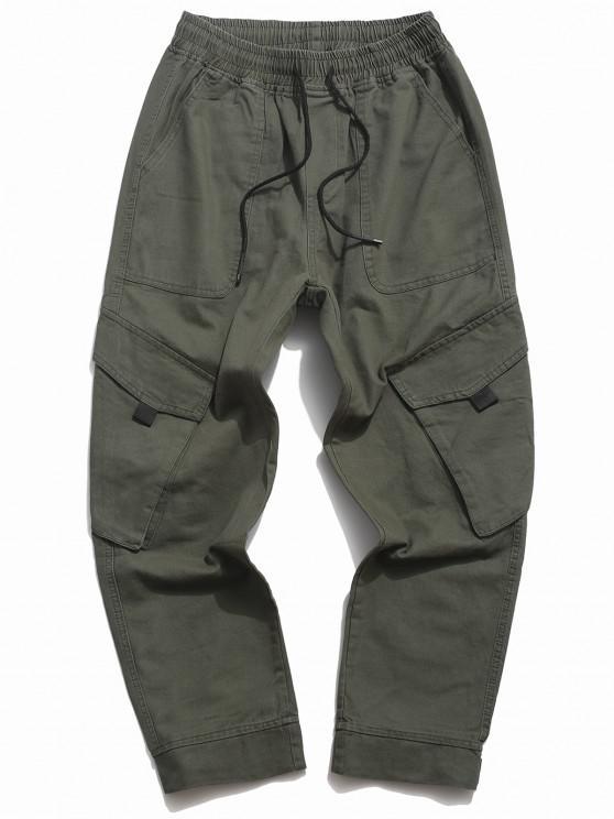 Drawstring Tapered Cargo Pants - الجيش الأخضر S