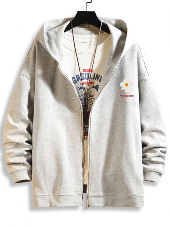 best Daisy Letter Print Zip Up Hoodie Jacket - PLATINUM 3XL