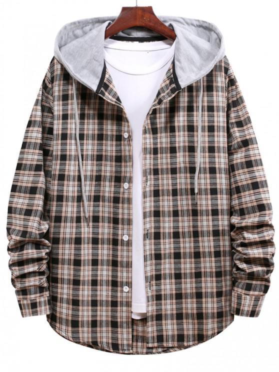 Plaid Pattern Colorblock Hooded Shirt - أسود S