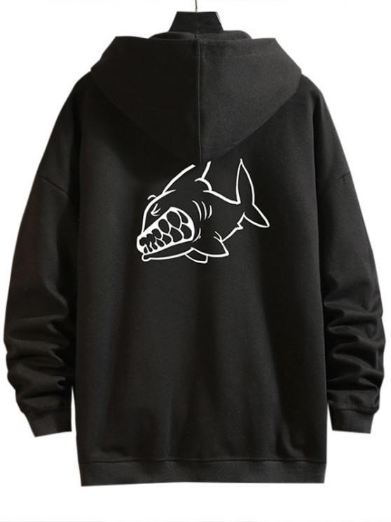 women's Cartoon Shark Print Zip Up Hoodie Jacket - BLACK XL