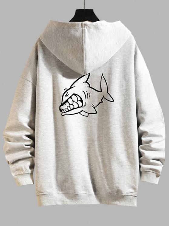 Cartoon Shark Print Zip Up Hoodie Jacket - بلاتين 4XL
