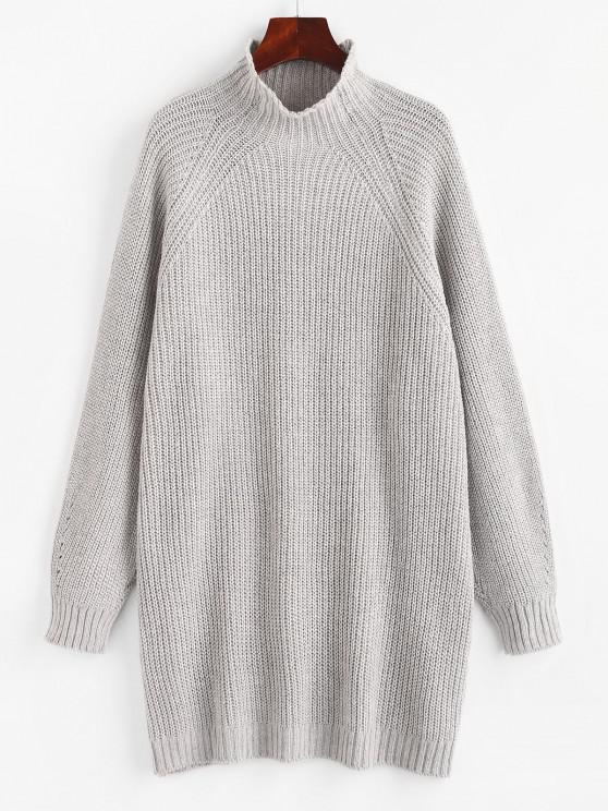 Hoher Hals Raglan Ärmel Tunika Pullover - Grau S