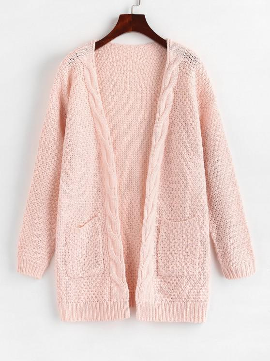 Open Front Cable Knit Chunky Cardigan - وردي فاتح XL