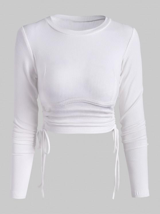 Ribbed Side Cinched Crop Top - أبيض M