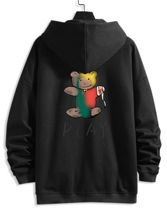 new Cartoon Bear Print Zip Up Hoodie Jacket - BLACK L