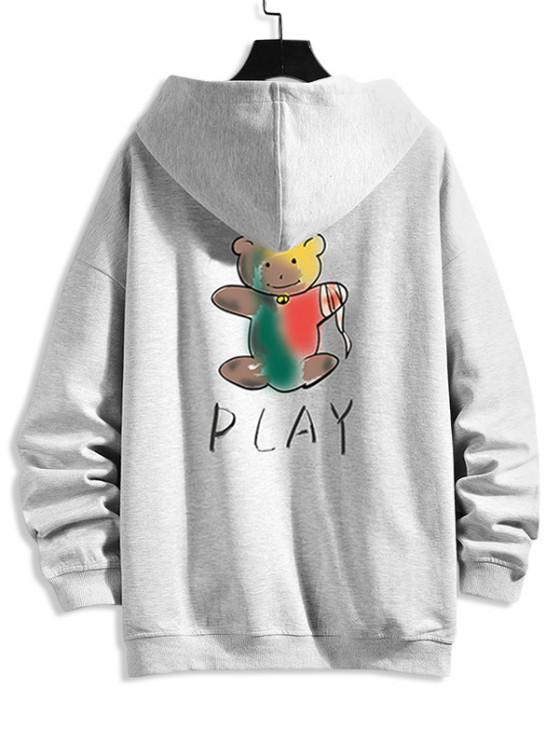 Cartoon Bear Print Zip Up Hoodie Jacket - بلاتين 4XL