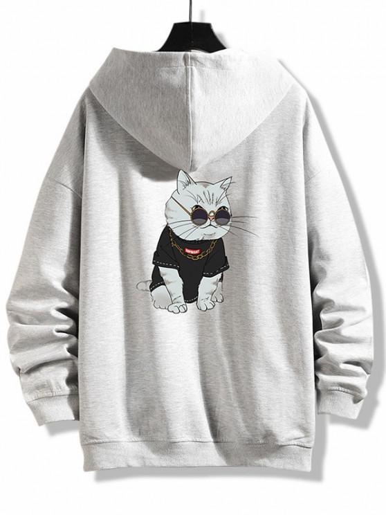 Zip Up Cartoon Cat Print Hoodie Jacket - بلاتين 4XL