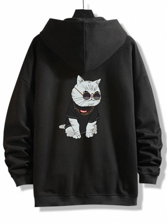 women's Zip Up Cartoon Cat Print Hoodie Jacket - BLACK XL