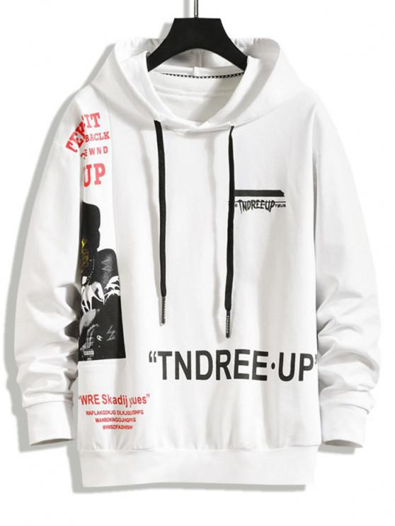 chic Letter Figure Graphic Spliced Hoodie - WHITE S