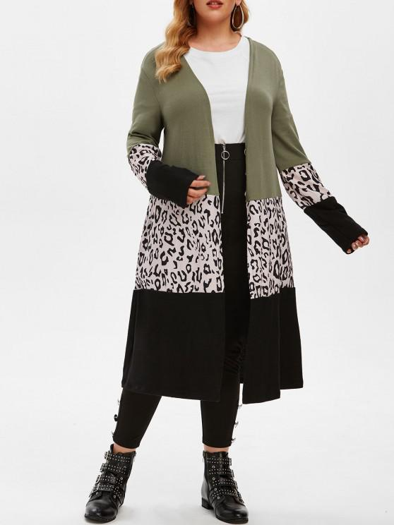 outfits Leopard Patchwork Open Front Plus Size Cardigan - DEEP GREEN XL