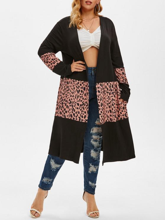 Leopard Patchwork Open Front Plus Size Cardigan - أسود M