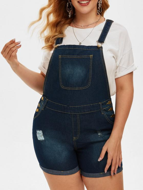 women Ripped Pockets Denim Plus Size Short Overalls - BLUE 5XL