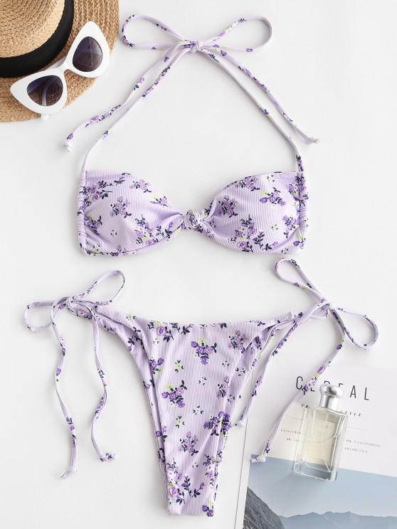 latest ZAFUL Halter Floral Ribbed Knot Tanga Bikini Swimwear - LIGHT PURPLE S