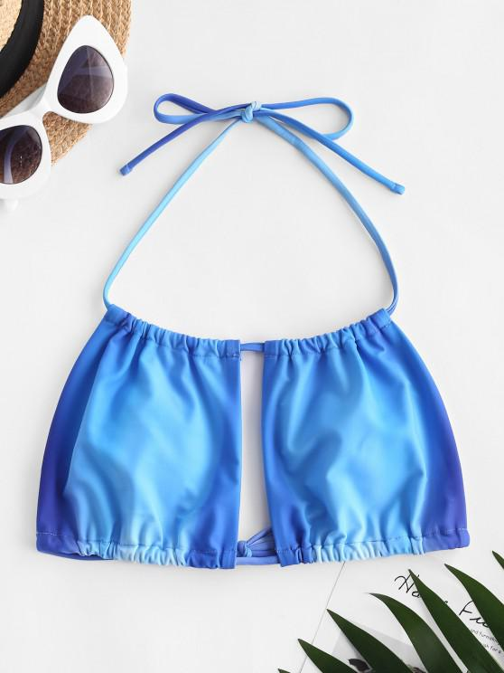 sale ZAFUL Halter Ombre Bikini Top - BLUE S
