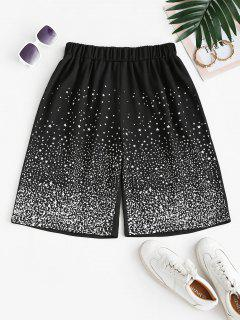 Stars Print Sweat Bermuda Shorts - Black M