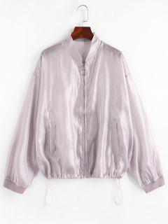 Zip Up Glitter Shiny Jacket - Light Purple M